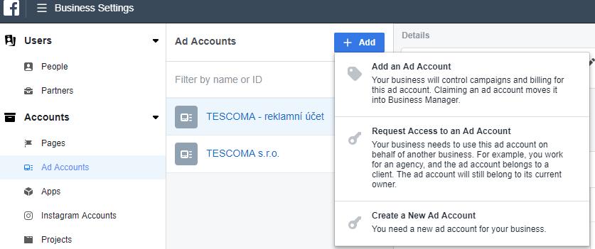 přidat reklamní účet do Business Managera