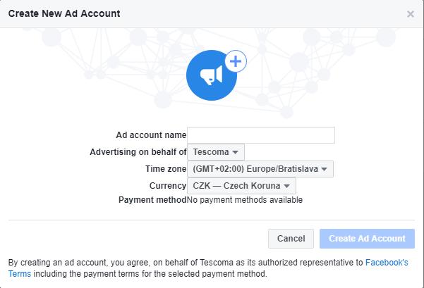 nastavení účtu pro reklamu na Facebooku