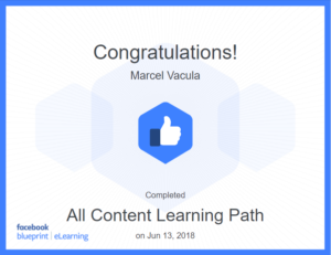 Facebook Blueprint all content certificate